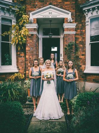 Summer Tickton Grange Wedding Photo bride with bridesmaids