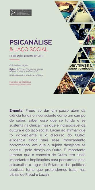 Psicanálise & laço social :: Quintas-feiras, às 18h30