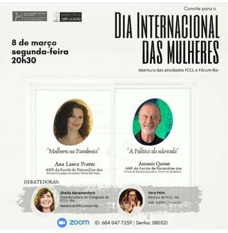 Dia Internacional das Mulheres :: Abertura das atividades  FCCL e Fórum Rio :: 08 de março, às 20h30