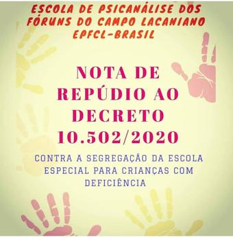 NOTA DE REPÚDIO AO DECRETO 10.502 E APOIO À EDUCAÇÃO INCLUSIVA
