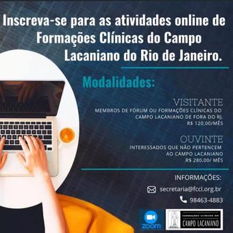 Os seminários e outras atividades da Epfcl Brasil e FCCLRJ foram retomadas na plataforma ZOOM, com n