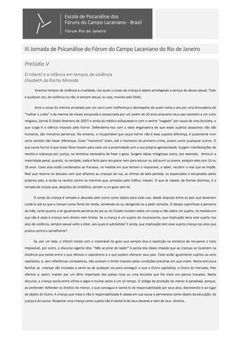 Prelúdio V, III Jornada FCL RJ