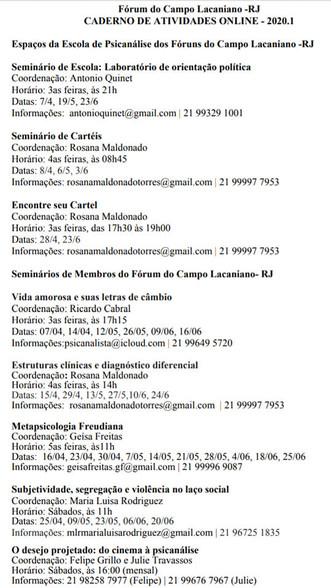 Caderno de atividades On line do Fórum do Campo Lacaniano RJ : entrem em contato com o coordenador d