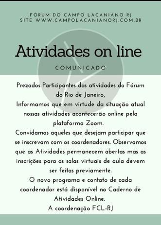 Atividades on line :: COMUNICADO