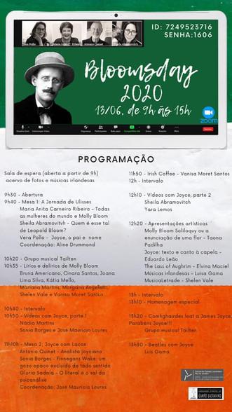 Programação do Bloomsday 2020 :: Sábado 13 de junho, de 9h às 15h - Transmissão online
