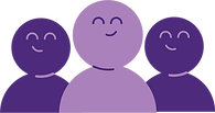Icon of 3 purple members smiling (two dark purple and one light purple)
