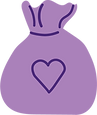 Icon of a purple money bag with a heart on it