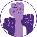 Icon of three purple fists in air symbolizing empowerment