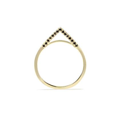 Side Black Diamond Apex Ring