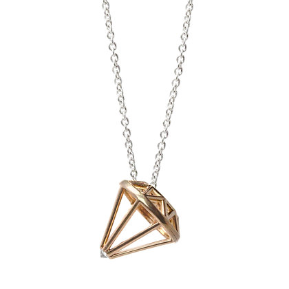 Gold Muse White Diamond Necklace