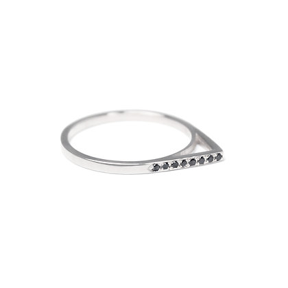 Sterling Silver Top Black Diamond Apex Ring