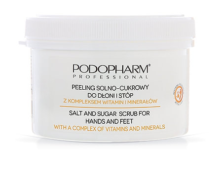 Salt and sugar scrub for hands and feet with a complex vitamins and minerals