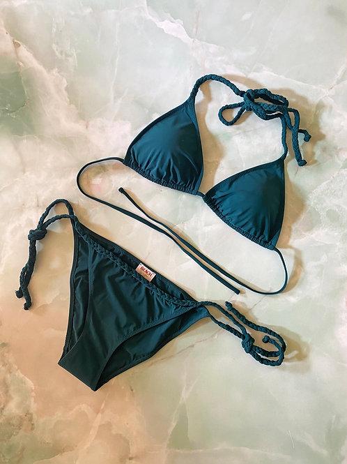Bikini con treccia verde bosco