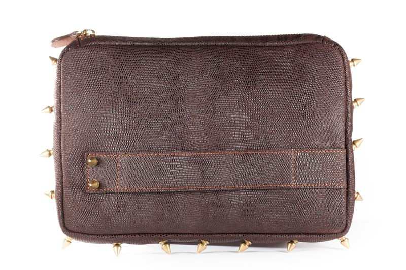 Embossed Italian Leather Studded Clutch