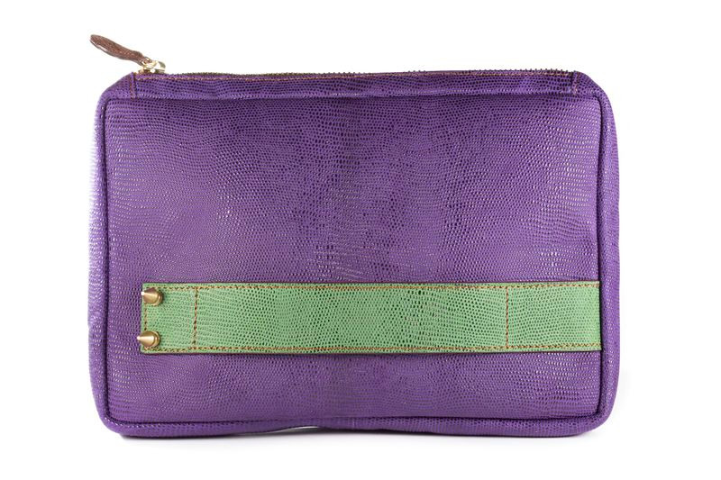 Embossed Italian Leather Everyday Clutch