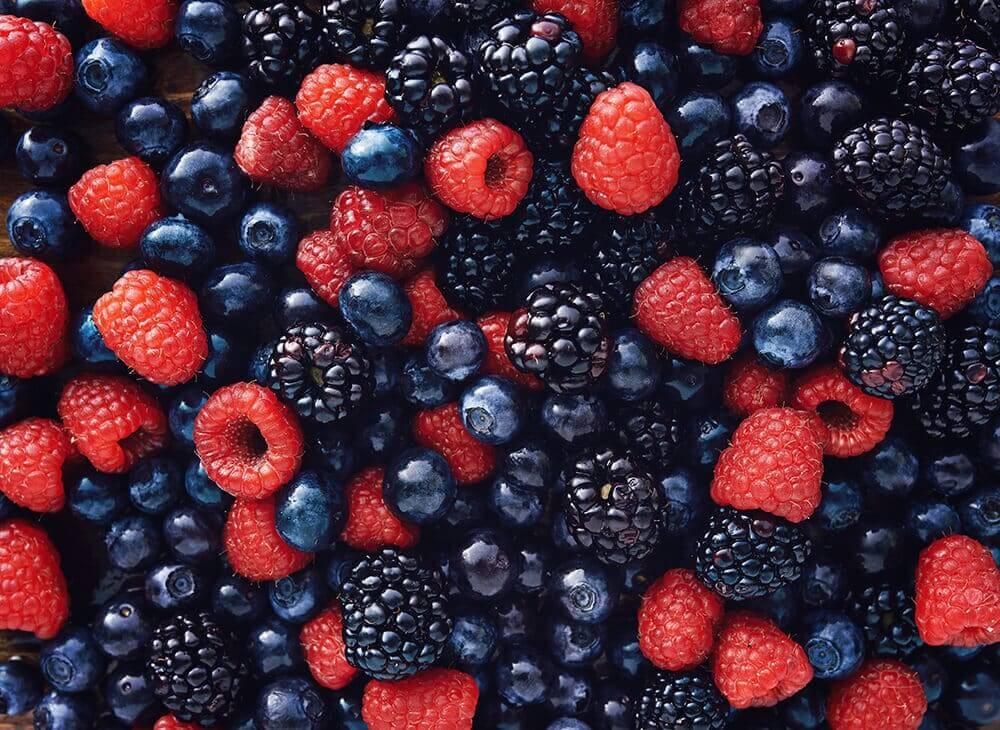 close up of blueberries, raspberries, and blackberries