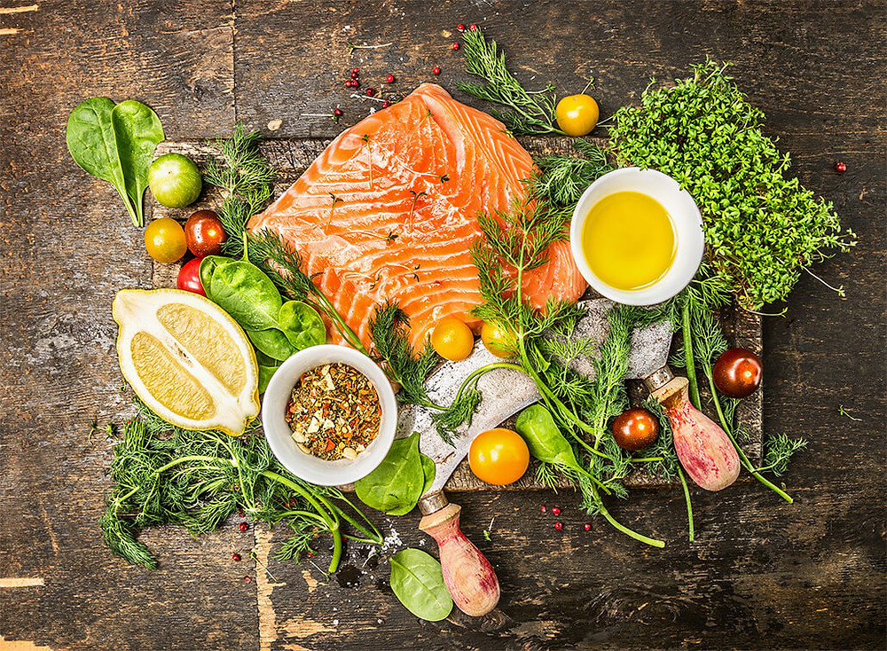raw salmon and other healthy foods