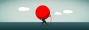 vector image of a man carrying a wrecking ball on his back