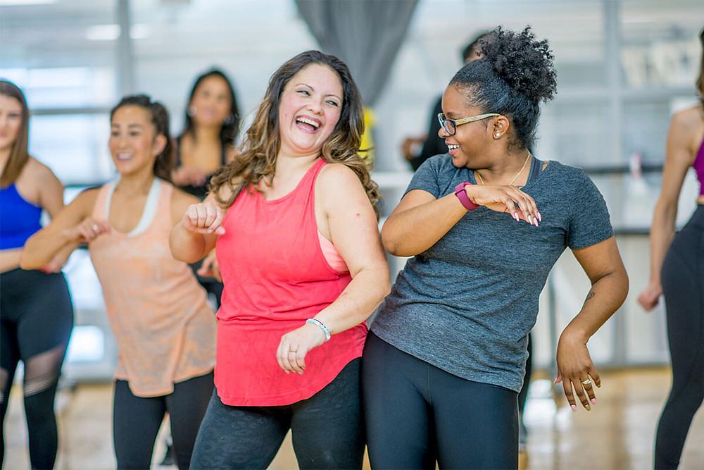 women dancing in exercise class