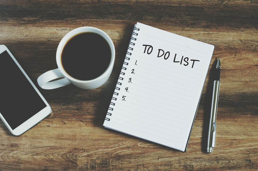 """Smart phone, coffee, pen and notepad with text """" to do list"""", retro style"""