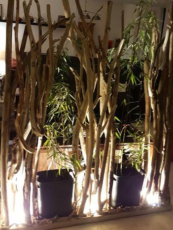 paravent d'interieur spots et bambous