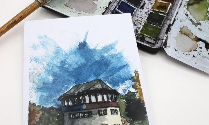 Postkarte – Turm Rennstrecke Solitude Leonberg