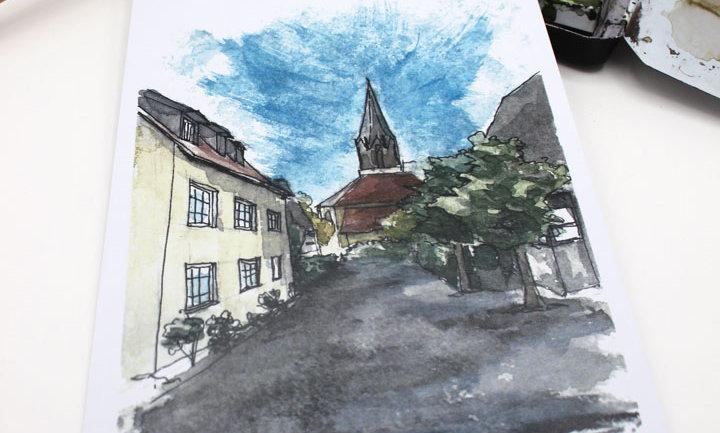 Postkarte – Ansicht Schulstraße