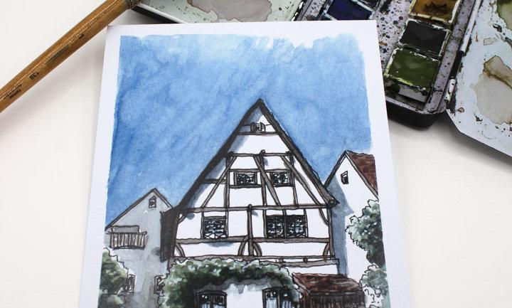 Postkarte – Fachwerkhaus, Schulstraße
