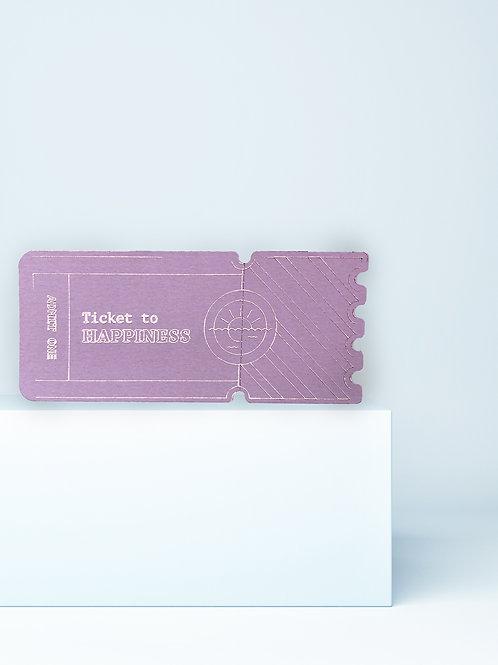 Ticket to Happiness – Gutschein, Grußkarte mit Perforation zum Abreißen