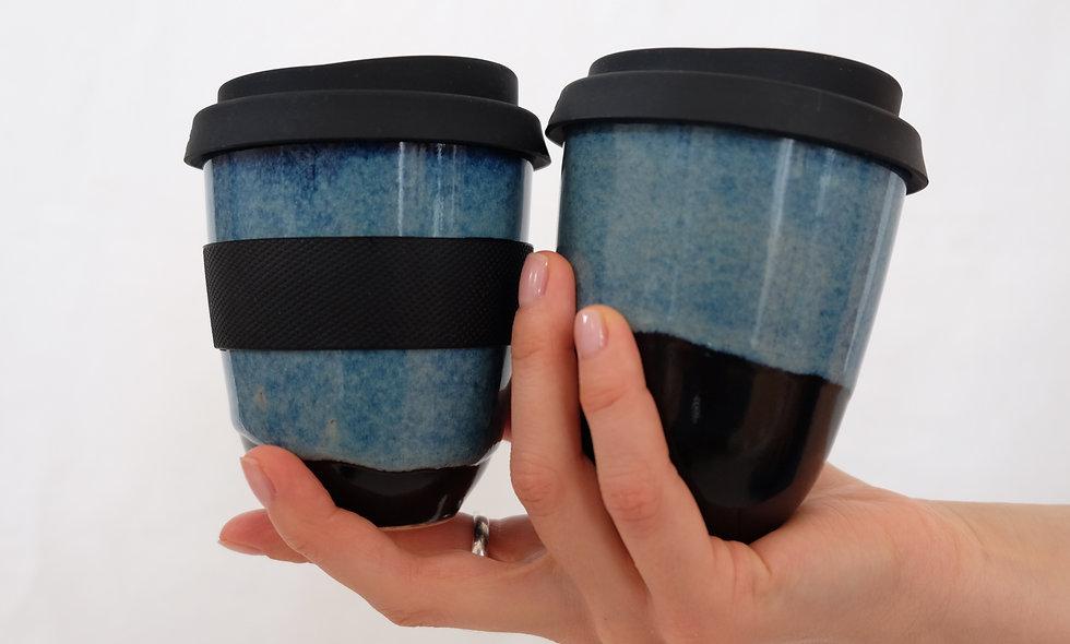 Coffee to Go Becher – Blue Flow klein