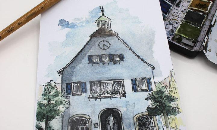 Postkarte – altes Rathaus Rutesheim