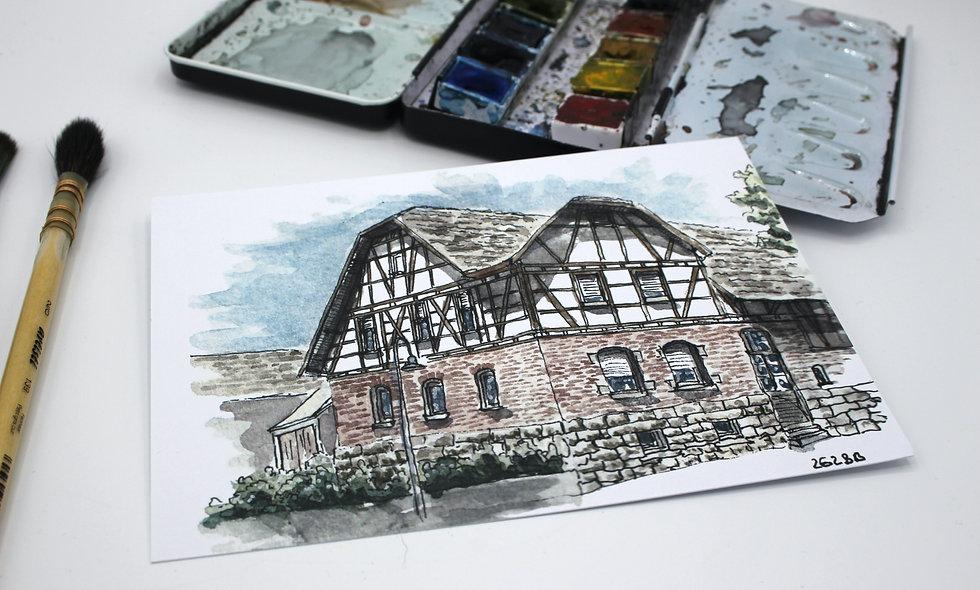 Postkarte – Rutesheim Bauernhaus