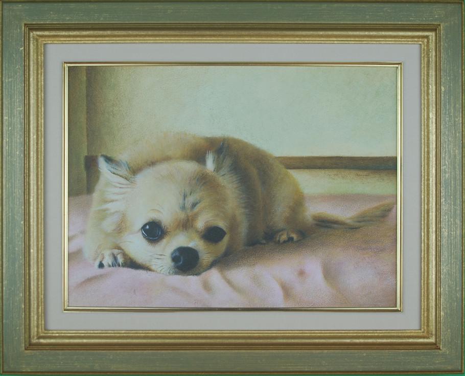 油絵具で描かれたチワワの肖像画