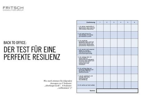 """""""Back to Office"""": Ein Test für eine perfekte Resilienz"""