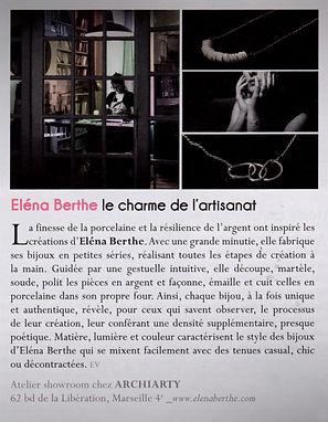 Eléna Berthe Le charme de l'artisanat