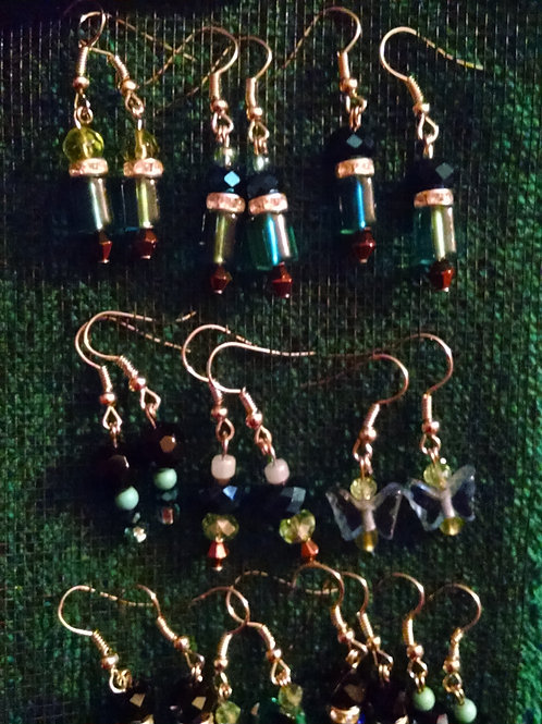 Silver Over Surgical Steel Glass bead earrings