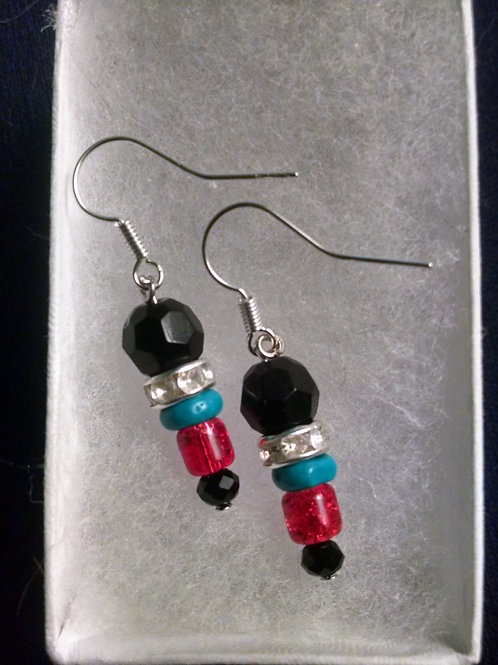 Sterling silver earrings with crystals and glass beads