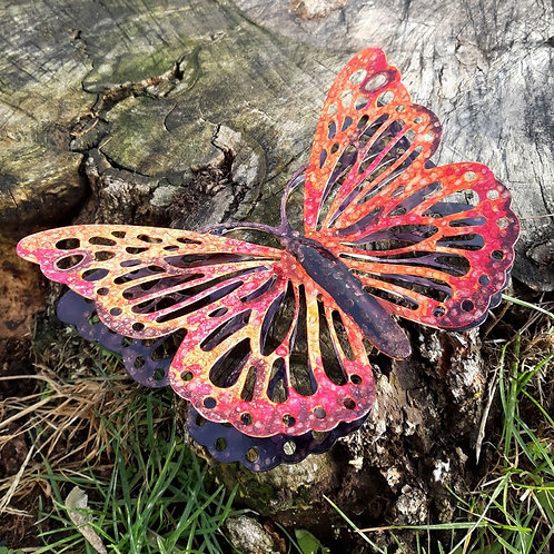 HAND-PAINTED METAL BUTTERFLY