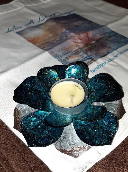 Alcohol inked lotus flower &Lotus Heart bag