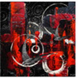 Red, Black and White Abstract 13'
