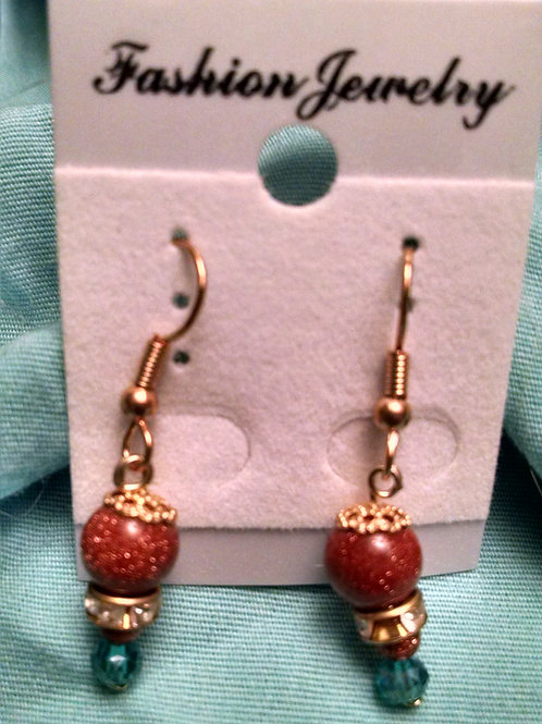Gold over surgical steel glass bead gold filigree earrings