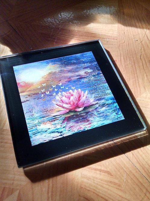 Blooming Lotus Glass Coaster