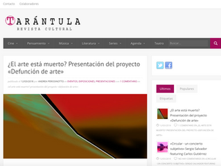 LA REVISTA CULTURAL TARÁNTULA PUBLICA EL EVENTO DE PRESENTACIÓN DEL PROYECTO DEFUNCIÓN DE ARTE