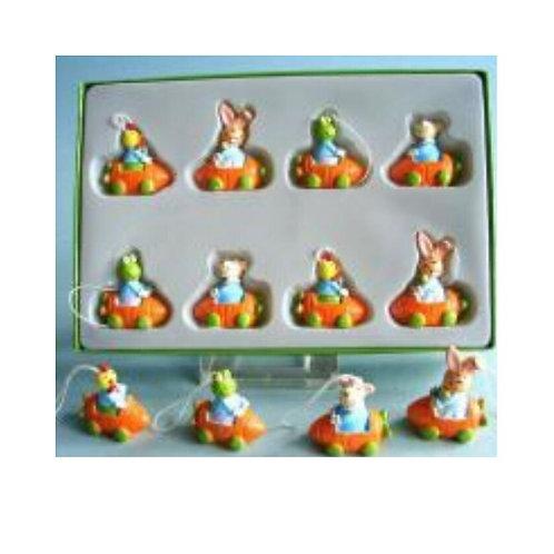 Coniglietti di pasqua in legno da appendere 8 pezzi