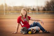 senior softball player on softball Field