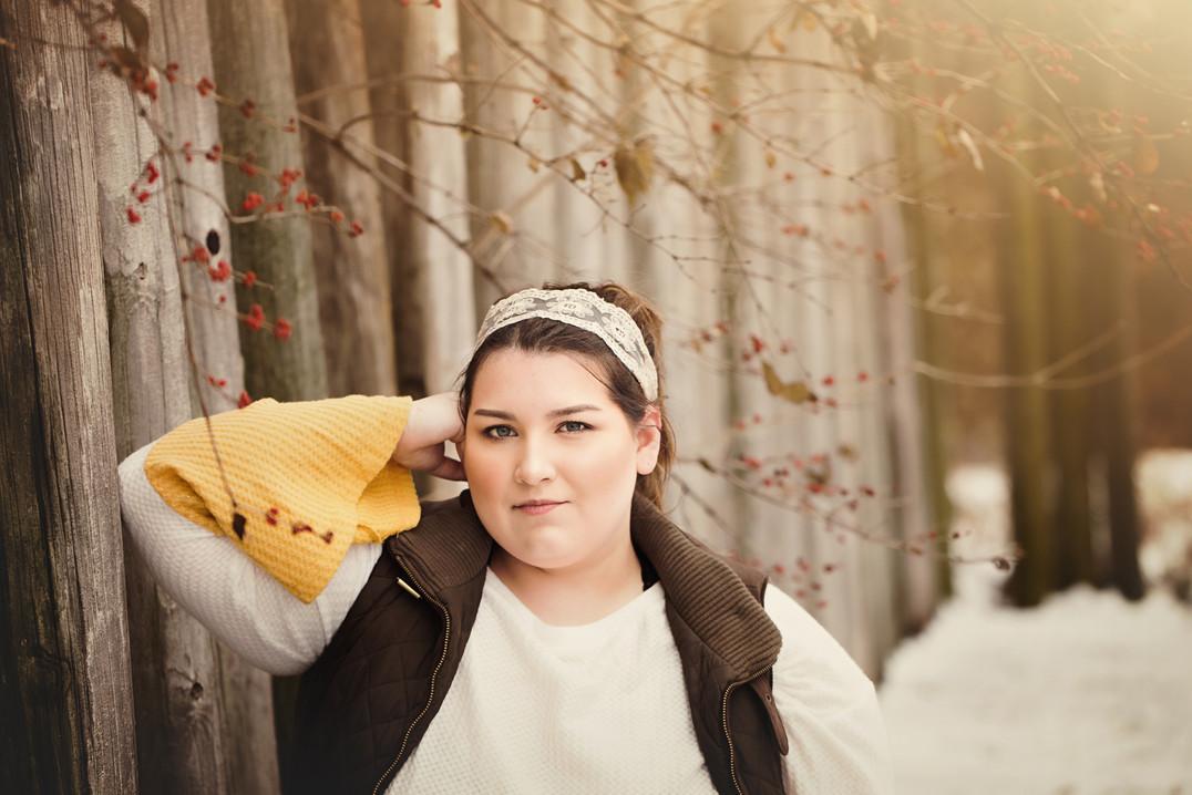 senior girl with holly