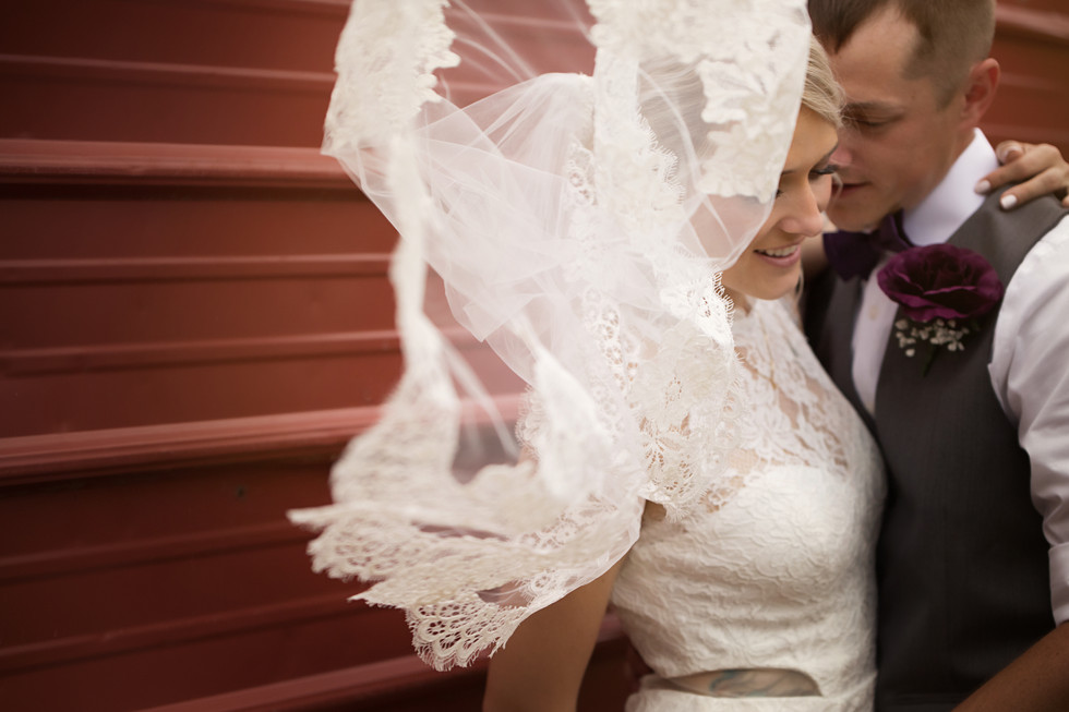 Veil covering bride and groom