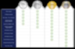 Accreditation Comparison Table | Platinum | Gold | Silver | White