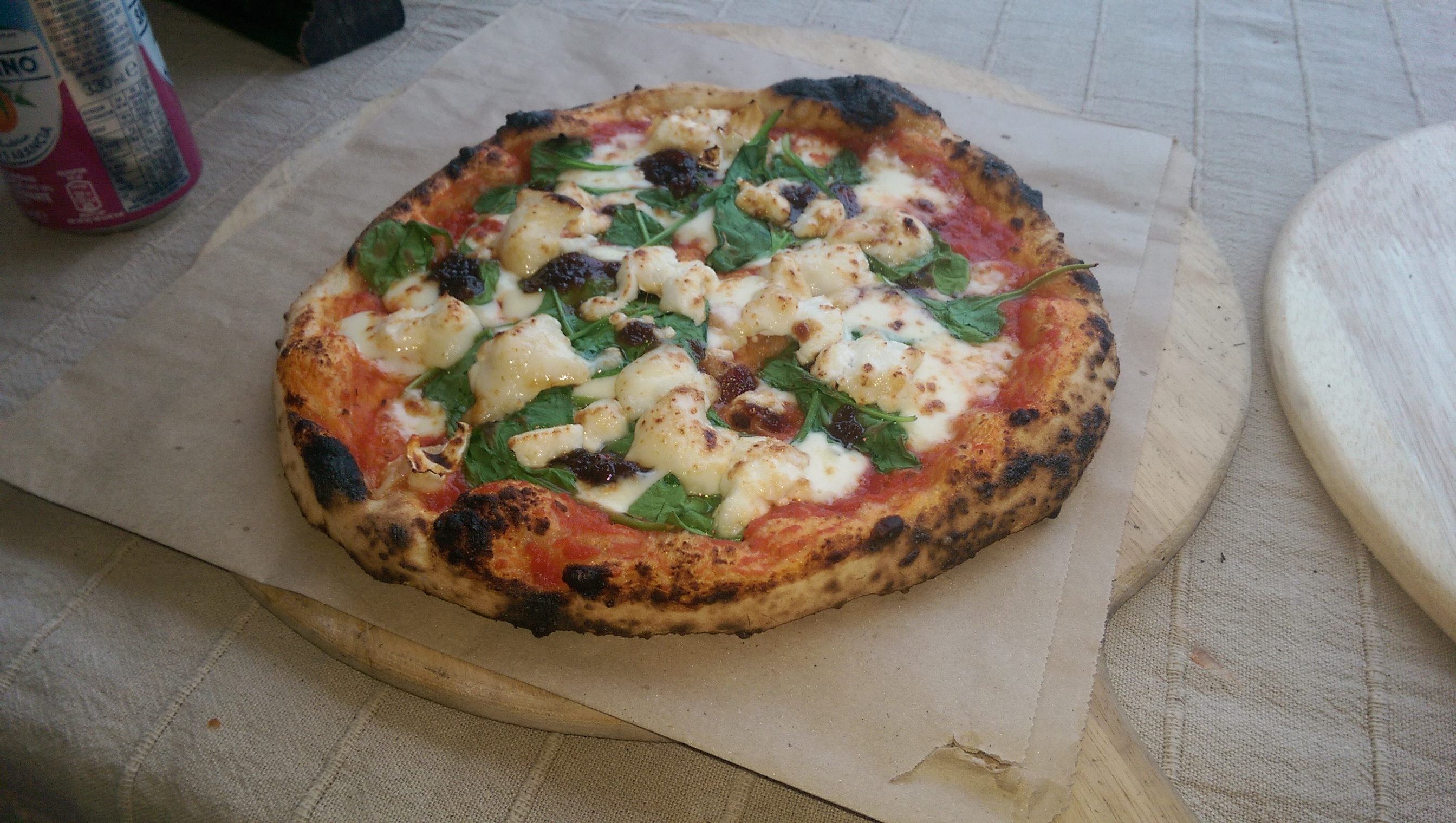 Goat's cheese wood fired pizza