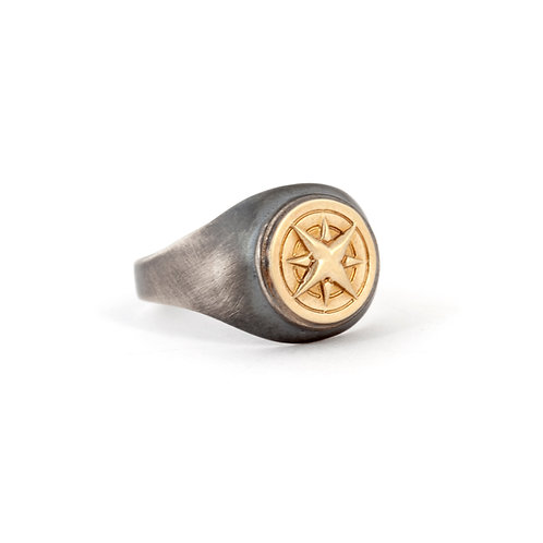 Gold Compass Signet Ring 925 Silver, Nautical Compass Ring Unisex
